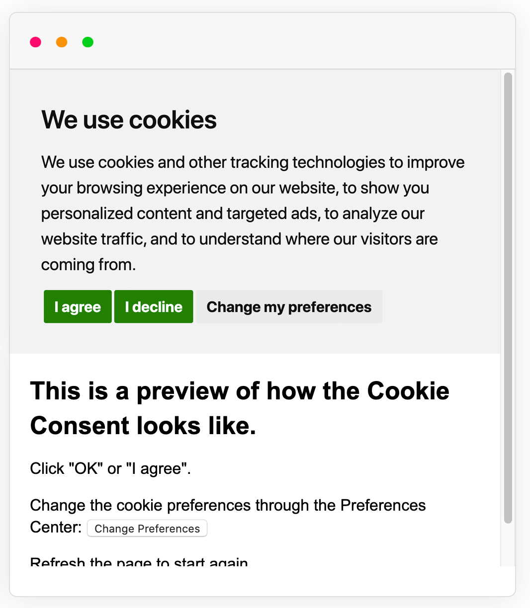 Example of Cookie Consent notice banner in a different color palette