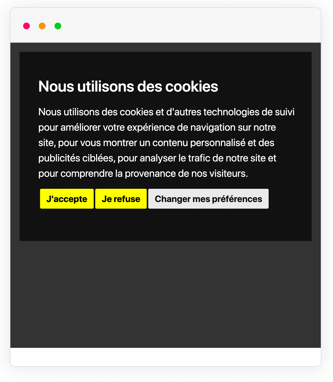 Example of Cookie Consent notice banner in a different language
